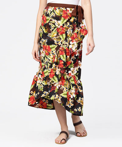 Multi flower printed calf length skirt