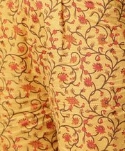 Yellow 3/4th sleeve cotton kurta with ankle length printed pallazo