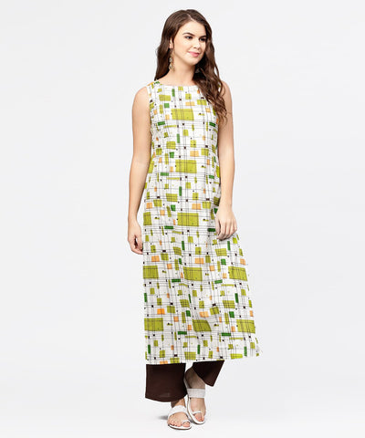 Off white & green printed sleeveless cotton kurta with coffee ankle length pallazo