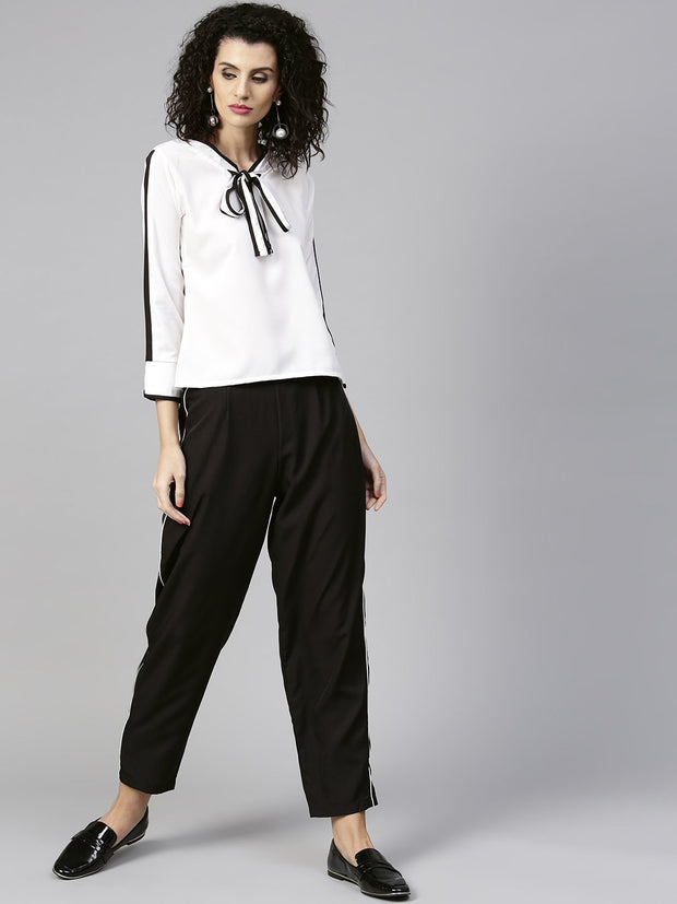 Women White & Black Solid Top with Trousers