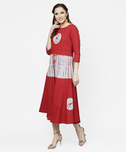 Red tye dye 3/4th sleeve cotton maxi dress