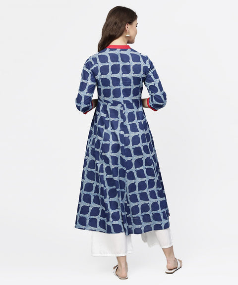 Blue printed 3/4th sleeve cotton anarkali kurta