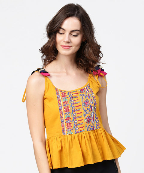 Yellow yoke design cotton tops with dori work at shoulder