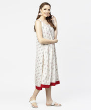 Off white printed sleeveless cotton A-line dress