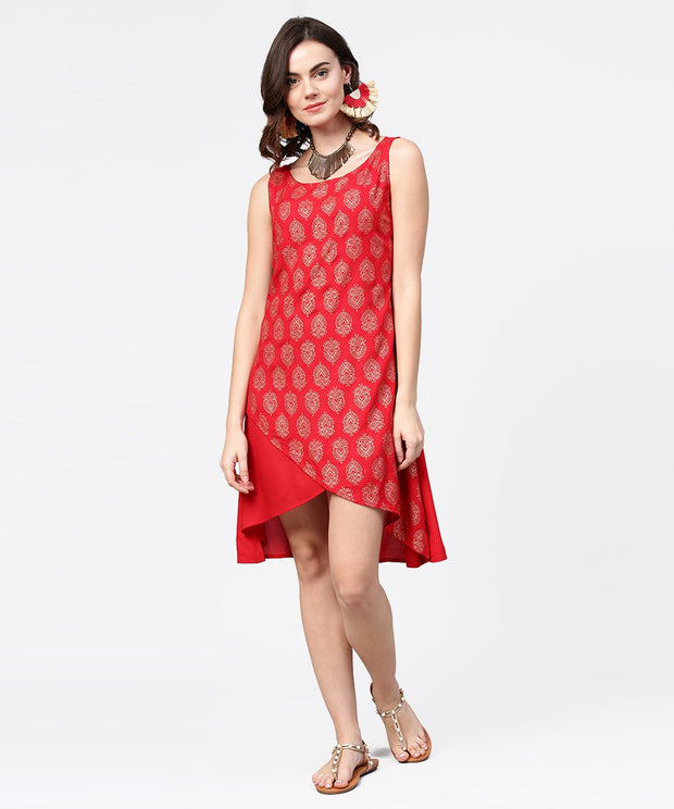 Red printed sleeveless cotton low high tunic