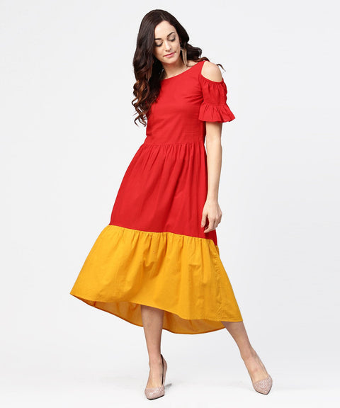 Red & Yellow short cold shoulder cotton maxi dress