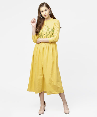 Yellow block printed 3/4th sleeve cotton maxi dress