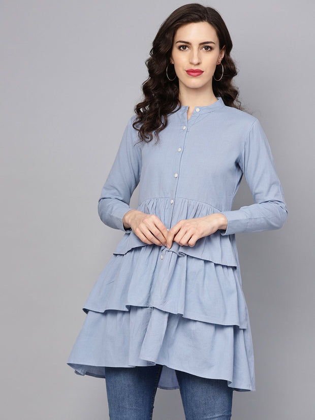 Solid Ice Blue Tired tunic with Madarin collar & 3/4 sleeves