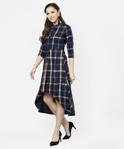 Blue checked 3/4th sleeve cotton front slit dress