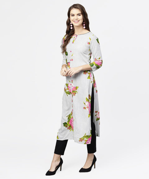 Blue stripes & flower printed front open 3/4th sleeve cotton kurta