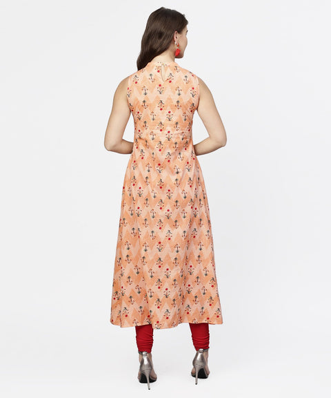 Peach printed sleeveless cotton front slit kurta