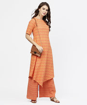 Yellow & Peach printed half sleeve cotton assymetric kurta with ankle length palazzo