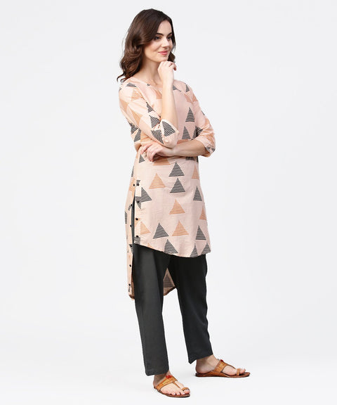Off white printed 3/4th sleeve cotton Low high kurta