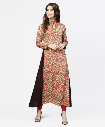 Red printed full sleeve flared cotton maxi dress