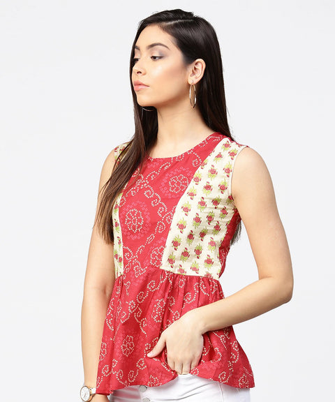Red printed sleeveless cotton pleated top