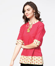 Pink half sleeve key hole neck cotton tops with printed border