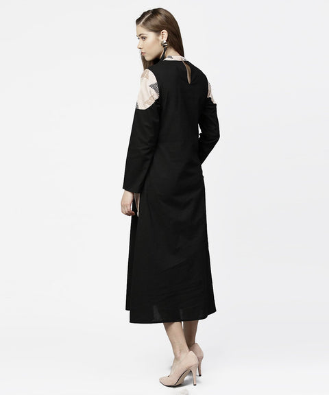 Black 3/4th sleeve cotton maxi dress with double pocket