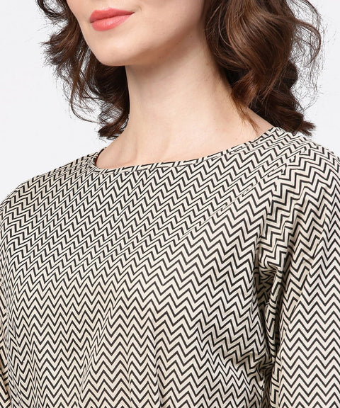 Black zig zag printed 3/4th sleeve cotton tunic with black belt