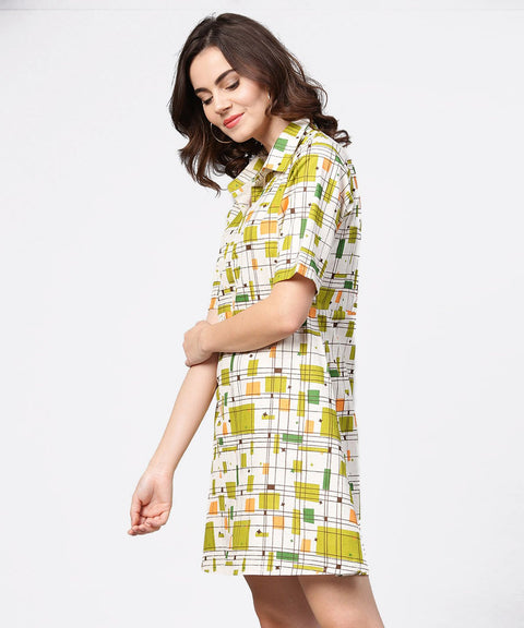 Off white printed half sleeve cotton tunic