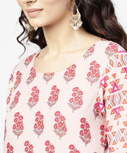 Off white printed 3/4th sleeve cotton kurta
