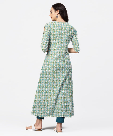 Green printed 3/4th sleeve cotton Maxi dress