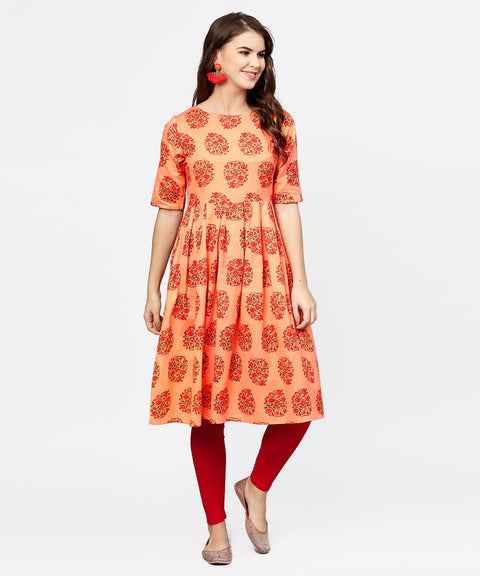Peach half sleeve cotton Anarkali kurta