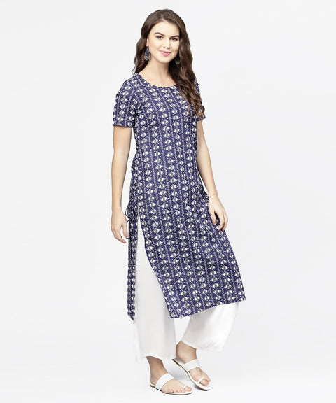 Blue half printed straight cotton kurta with dori work