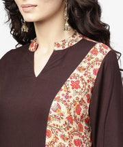 Black & Red printed 3/4th sleeve cotton straight kurta