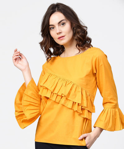 Yellow full sleeve cotton tops