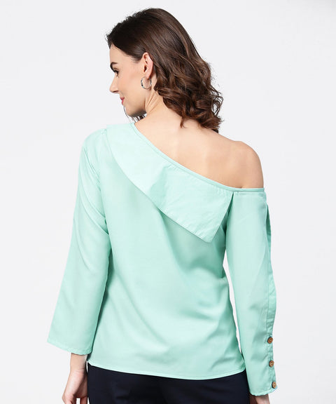 Aqua blue full sleeve one side shoulder tops