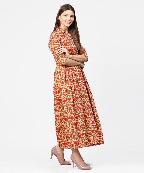 Yellow & Red printed half sleeve cotton maxi dress