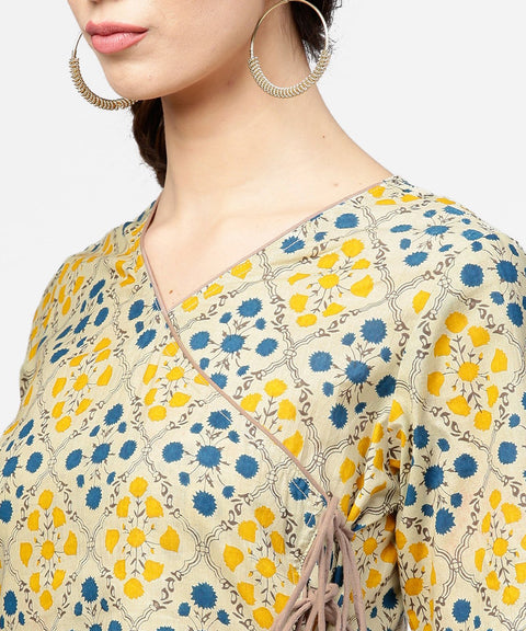 Yellow printed half sleeve cotton straight kurta with dori work