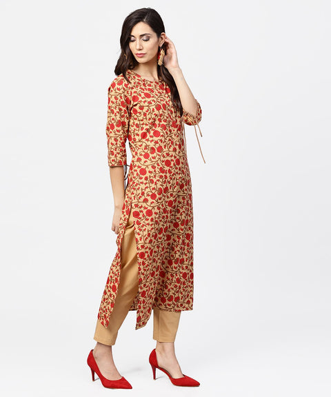 Yellow & Red printed 3/4th sleeve straight cotton kurta