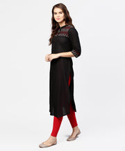 Black 3/4th sleeve yoke printed straight kurta