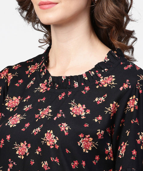 Black printed half sleeve cotton tops