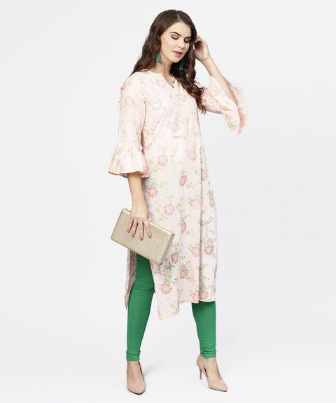 Peach 3/4th flared sleeve cotton kurta