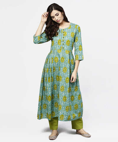 Blue 3/4th sleeve Cotton A-line kurta
