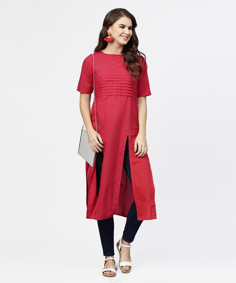 Maroon half sleeve cotton multi slit kurta