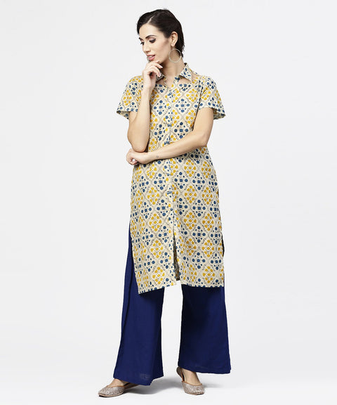 Blue short sleeve cotton kurta
