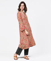 Red printed 3/4th sleeve cotton a-line kurta