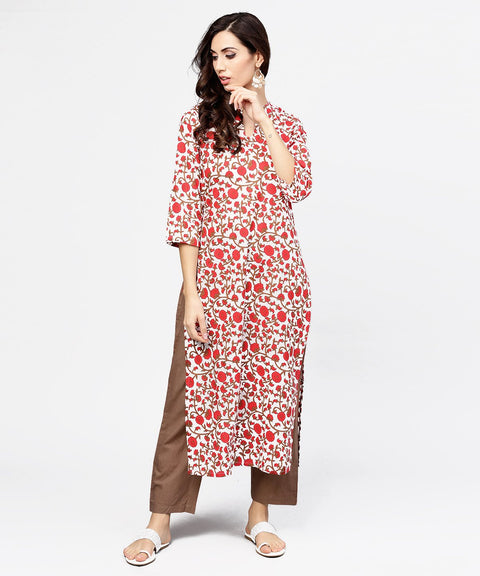 Off white printed 3/4th sleeve cotton kurta with brown ankle length pant