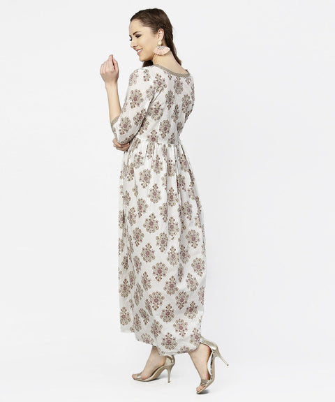 Off white printed 3/4th sleeve cotton maxi dress