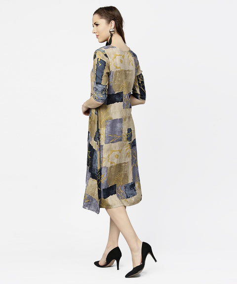 Brown & Blue printed half sleeve cotton a-line dress