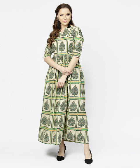 Green printed half sleeve cotton maxi dress