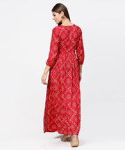 Red printed 3/4th sleeve cotton maxi dress