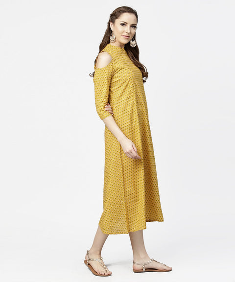 Yellow printed 3/4th cold shoulder sleeve cotton maxi dress
