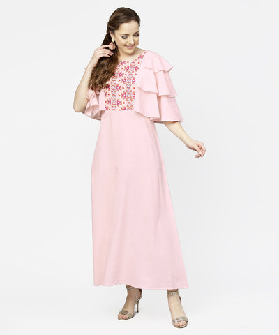 Peach Yoke printed flared sleeve cotton maxi dress