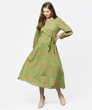 Green printed 3/4th sleeve cotton maxi dress with belt