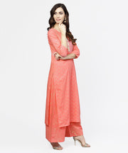 Peach printed 3/4th sleeve cotton kurta with flared ankle length pallazo