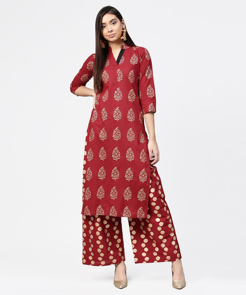 Red butta printed 3/4th sleeve kurta with printed pallazo